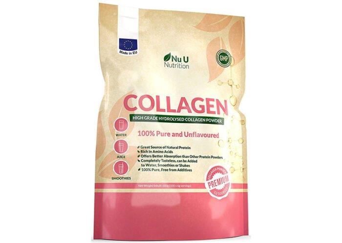 Опаковка на колагенов протеин на пудра, удобна за директна консумация.