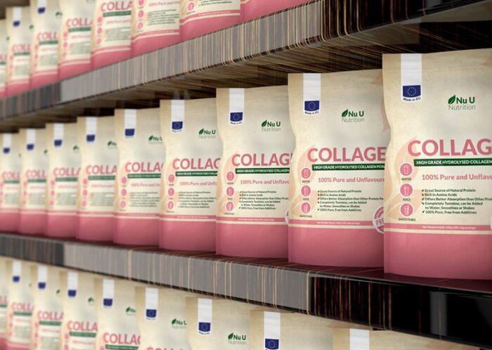 Ползи от приема на колаген. Наредени на дървен рафт опаковки с колаген.