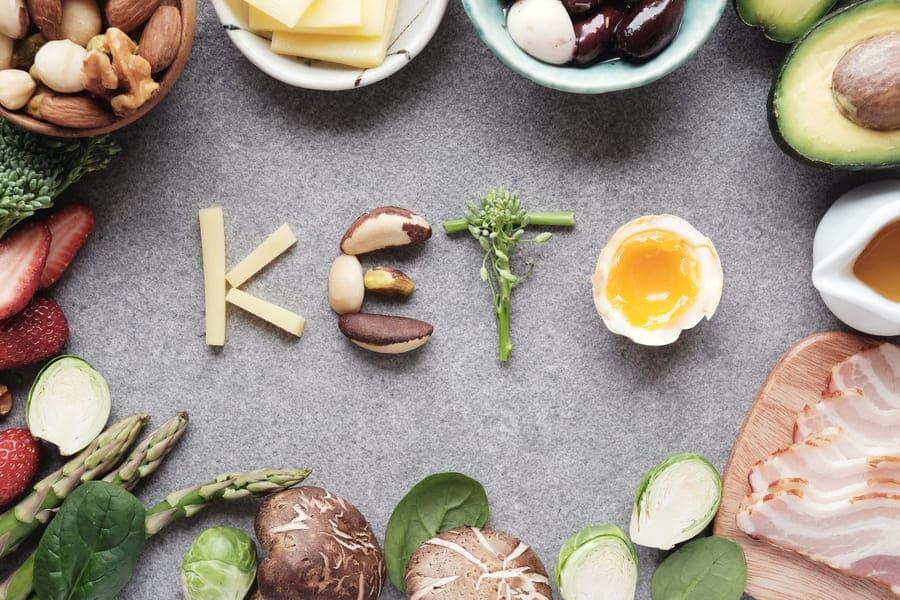 разпръснати хранителни продукти под формата на надпис кето, като всеки продукт е свързан с кето режима
