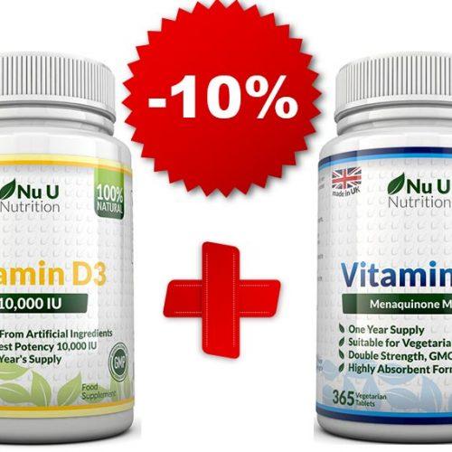 витамин D3 и К2 събрани в промоционален комплект, с намаление -10%.