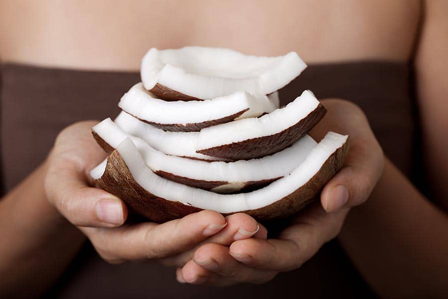 Coconut on hands. SPA collection.