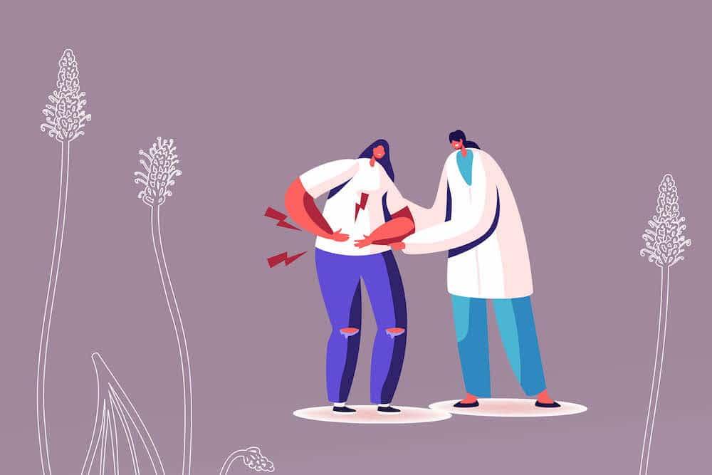 Хуск - ползи за здравето. Анимация на лекари, които следят здравето на пациент на фона на растието, от което се прави хуск.