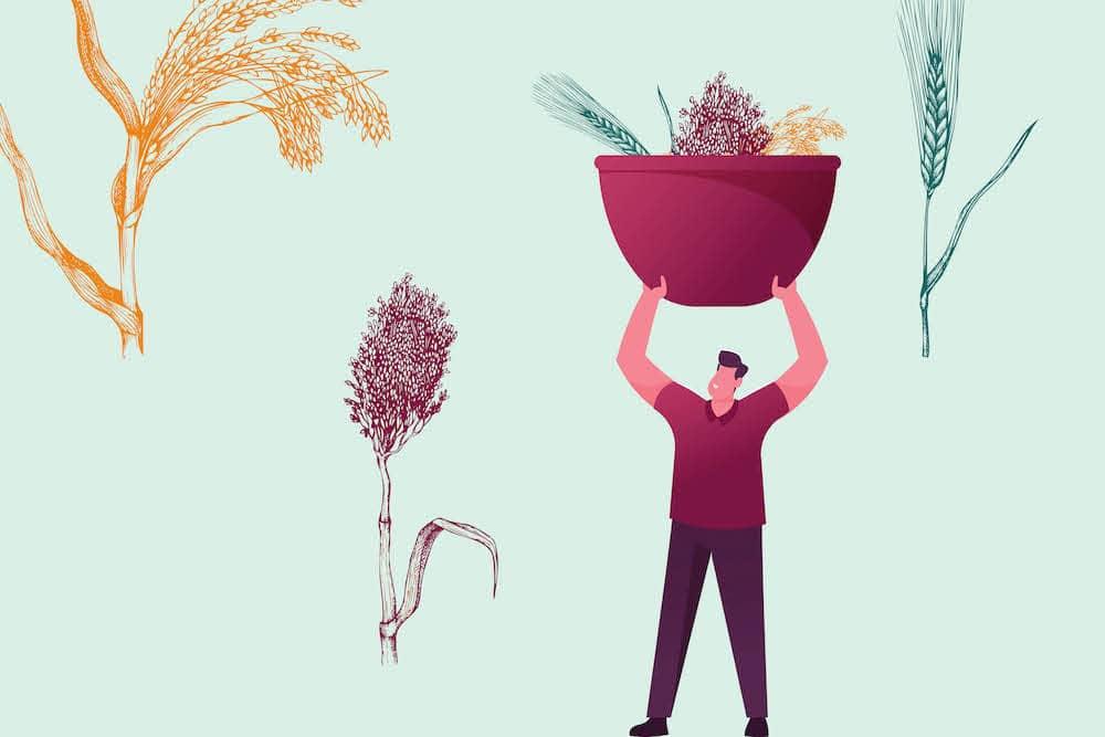 Анимация на човек, който събира растения (хуск) над главата си.