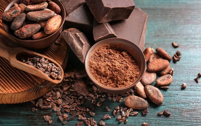 Bowls of cocoa beans and powder with broken chocolate pieces on color background