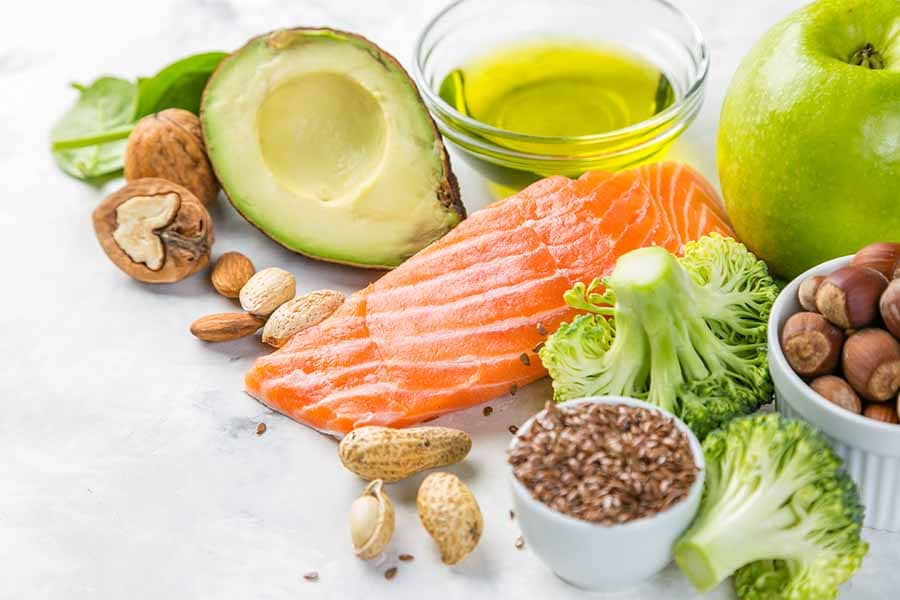 Selection of healthy food sources - healthy eating concept. Ketogenic diet concept, copy space